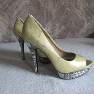 "Peep Toe Platform Stiletto Metallic 5"" Heel Green"